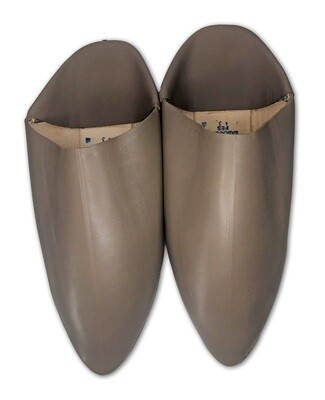 Men's Plain Pointed Light Brown Organic Leather Moroccan Babouche Slippers