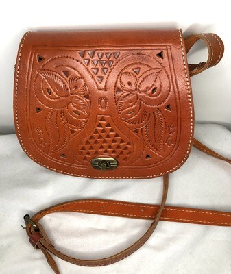 Dark Tan Moroccan Embossed Leather Saddle Bag Shoulder Bag