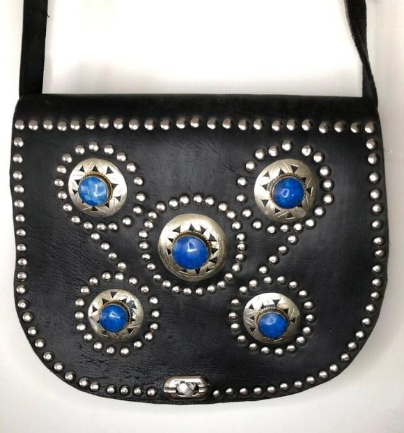 Black Embellished Moroccan Leather Saddle Bag Shoulder Bag