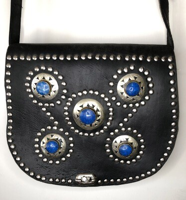 Black Embellished Moroccan Leather Saddle Bag Shoulder Bag