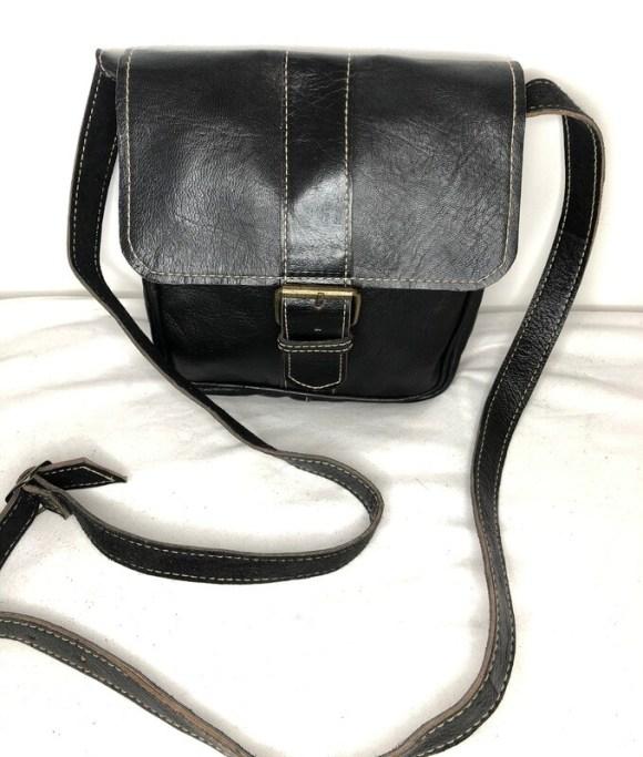 Square Black Leather Shoulder Bag Handbag