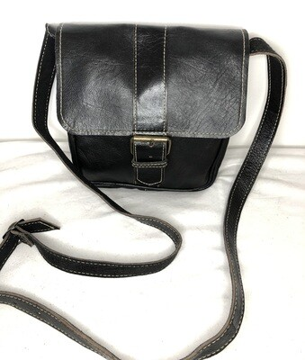 Square Black Leather Shoulder Bag Handbag