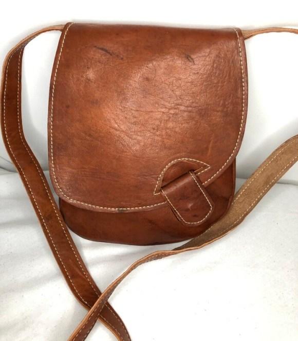 Square Dark Tan Leather Shoulder Bag Handbag