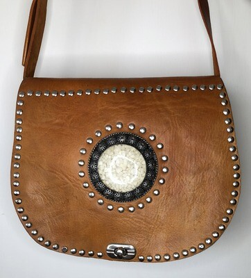 Vintage-look Tan Embellished Moroccan Leather Saddle Bag Shoulder Bag