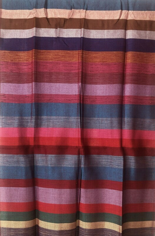 Handmade Moroccan Red Pink Blue Brown Striped Sabra Silk Scarf
