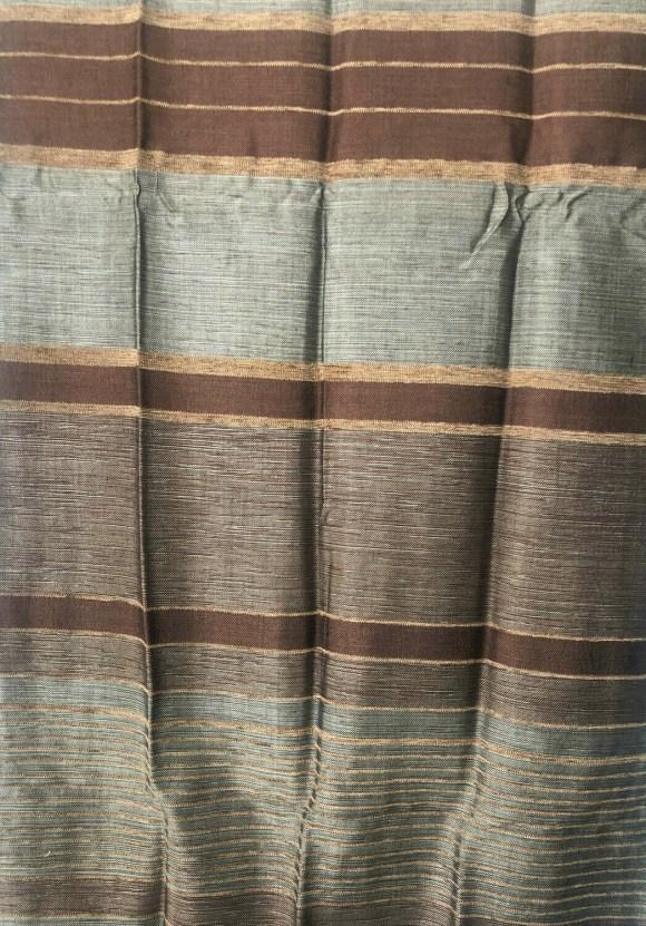 Handmade Moroccan Coffee Brown Bronze Striped Sabra Silk Scarf
