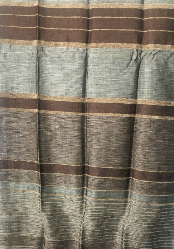 Handmade Moroccan Coffee Brown Bronze Striped Sabra Silk Scarf