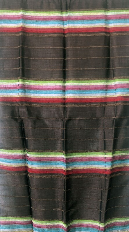 Handmade Moroccan Dark Brown and Multi-Colour Striped Sabra Silk Scarf