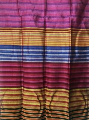 Handmade Moroccan Yellow and Multi-Coloured Striped Sabra Silk Scarf