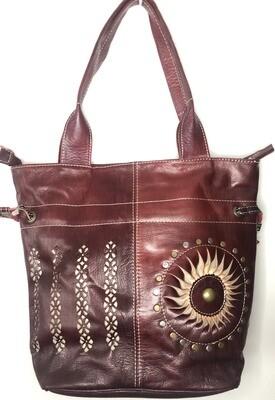 Burgundy Sun Motif Moroccan Leather Tote Bag Shoulder Bag Shopper
