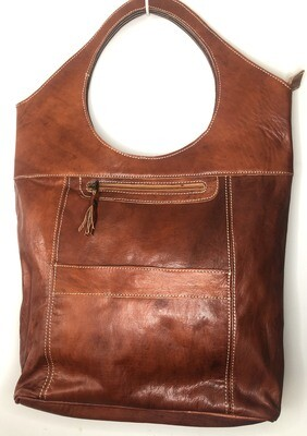 Dark Tan Cut-Out Handle Moroccan Leather Tote Bag Shoulder Bag Shopper