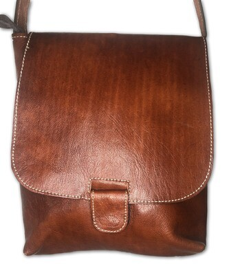 Plain Tan-Coloured Moroccan Leather  Shoulder Bag