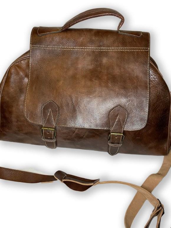 Dark Brown Moroccan Leather Weekend/Bowling Bag
