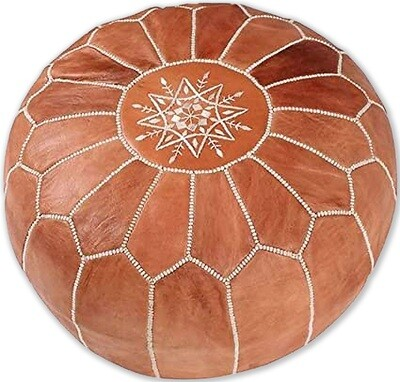 Hand Made Moroccan Tan Leather Pouffe