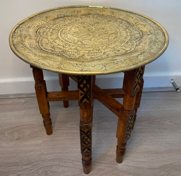 Vintage Moroccan Brass and Wood Tray Table