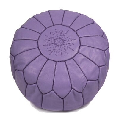 Hand Made Moroccan Lilac Leather Pouffe