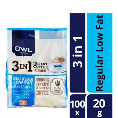 OWL 3 IN 1 INSTANT COFFEE - REGULAR LOW FAT 100X20