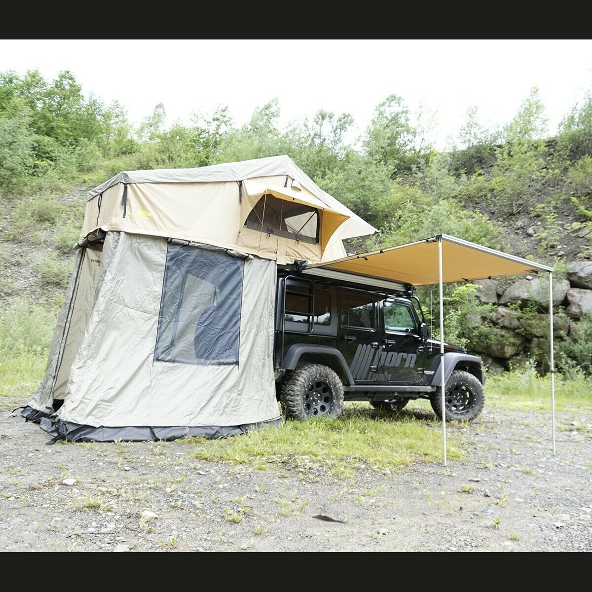 Dachzelt horntools Desert I 120cm sandfarben mit Vorzelt Offroad Reise Zelt atmungsaktiv & wüstentauglich