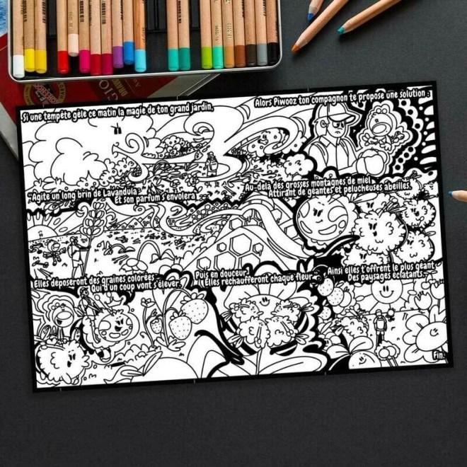 L'histoire à colorier Piwooz - Les abeilles magiques