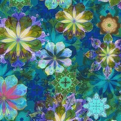 Teal Flowers 3-Yard Precut 108