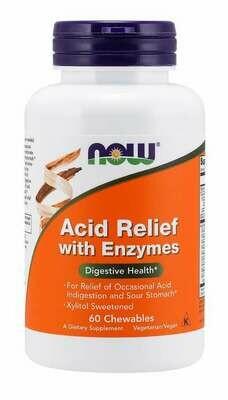 NOW Acid Relief w Enzymes 60chew