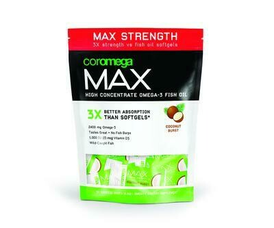 Coromega Max Coconut Bliss Omega-3 Fish Oil 60 Packet