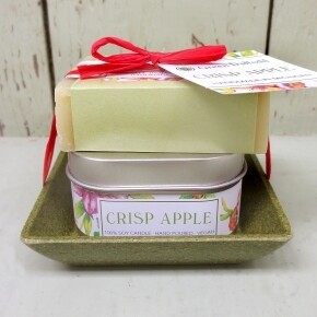 Green Daffodil Crisp Apple Candle And Soap Dish Kit