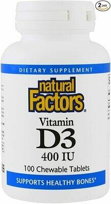 Natural Factors Vitamin D3 400IU Chew Tab 100