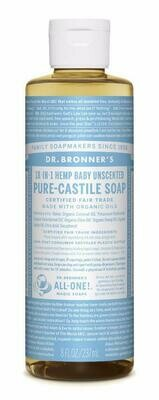 Dr. Bronner's 18-in-1 Hemp Baby Unscented Pure Castile Soap 8oz