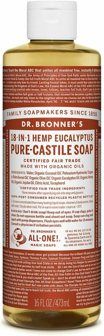 Dr. Bronner's 18-in-1 Hemp Eucalyptus Pure Castile Soap 16oz