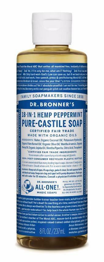 Dr. Bronner's 18-in-1 Hemp Peppermint Pure Castile Soap 8oz