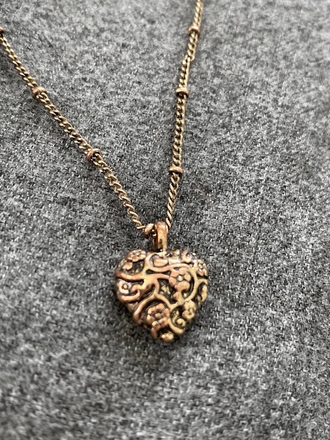 "16"" Necklace, Bronze Colored, Heart Shaped, Two Link Style"