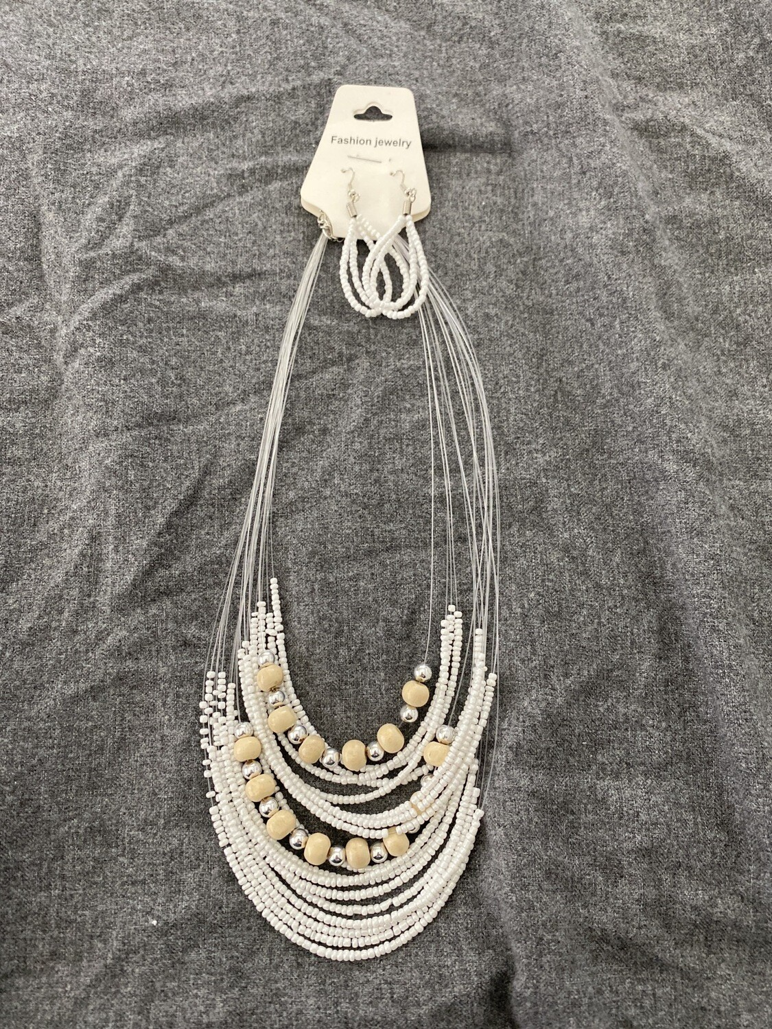 """18"""" Beaded Necklace, White, With Beaded Earings"""