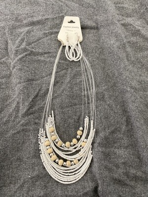"18"" Beaded Necklace, White, With Beaded Earings"