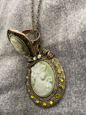 """28"""" Necklace, Lady On The Front, With Ring, Bow Ribbon"""