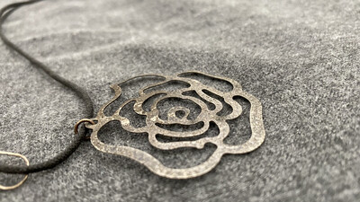 "16"" Roped, Flower Necklace, Silver Colored, With Earings"