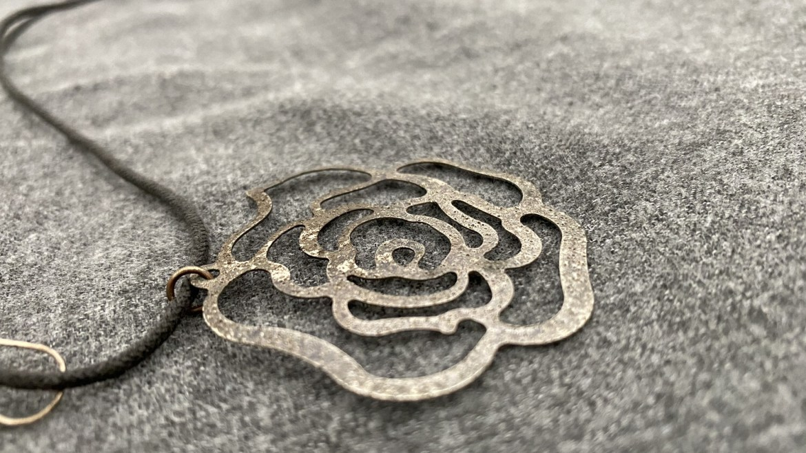 """16"""" Roped, Flower Necklace, Silver Colored, With Earings"""