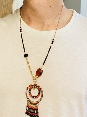 "23"" Necklace, 2"" Extender, Aztec Vibe Native, Red & Black"