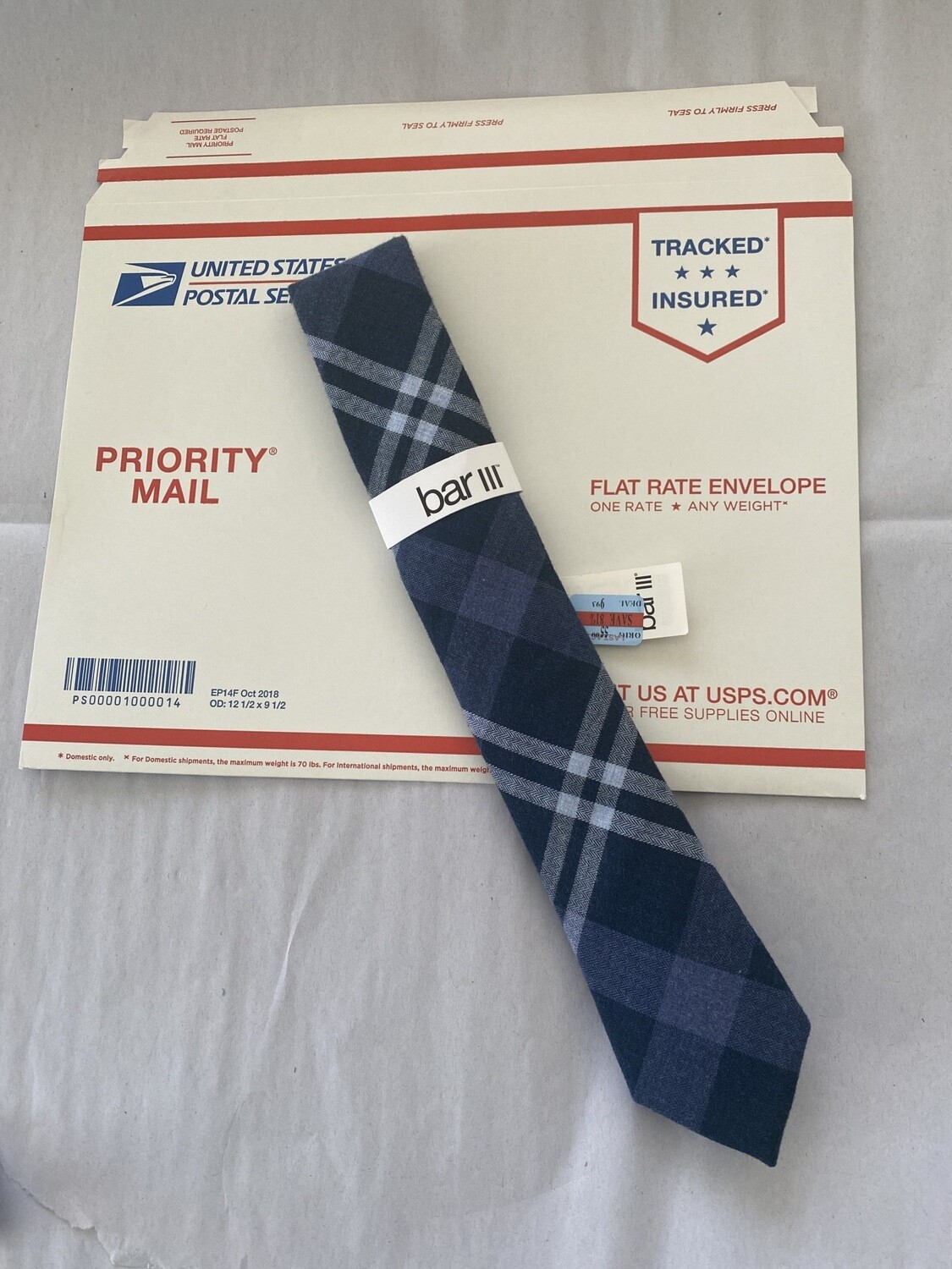 Bar III Macy's Shilling Plaid Blue Neck Tie NWT MSRP $55.00 A#423 FREE SHIPPING