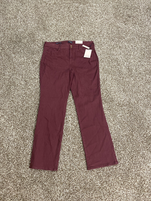 #307 NYDJ Burgandy Jeans Women's Size 16 Marilyn Straight Leg NWT