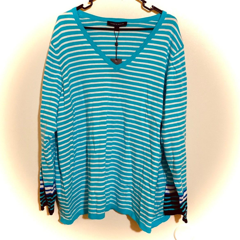 #311 3X Women's Tommy Hilfiger, Ivy 2 Stripe Sweater | NWT | Emerald & White