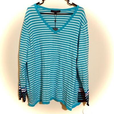#311 3X Women's Tommy Hilfiger, Ivy 2 Stripe Sweater   NWT   Emerald & White
