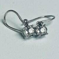 #60 White Diamonique Earrings
