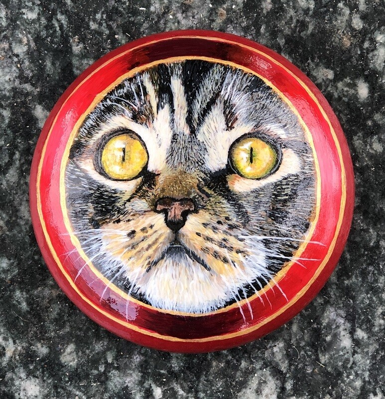 Black Tabby Cat Art Stone