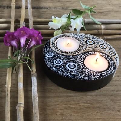 Yin & Yang Tea Light Holder set purple/white