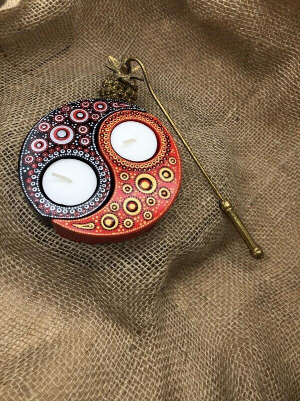 Yin & Yang Tea Light Holder set red/black
