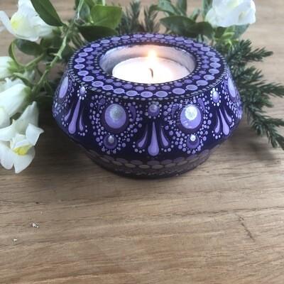 Purple Border Edge Round Tea Light Holder