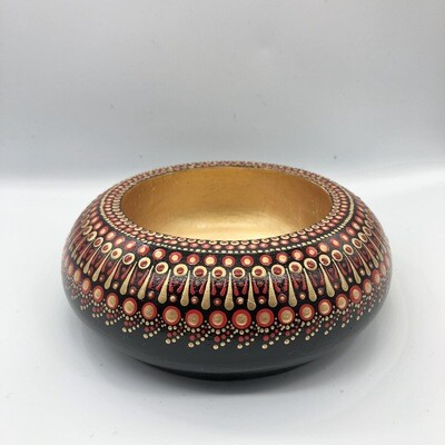 Small Dotted Trinket Bowl Red, Black & Gold Colours