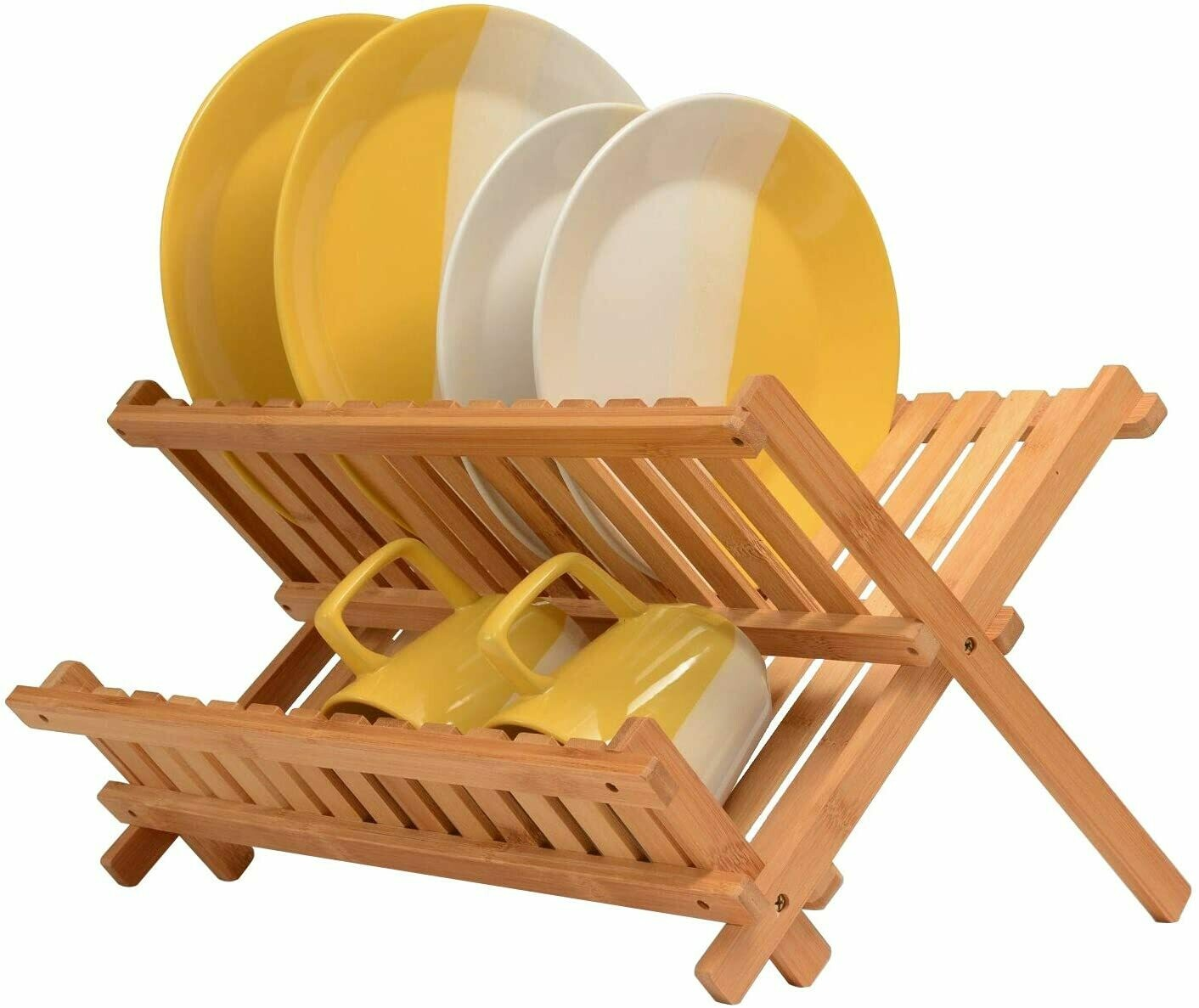 collapsible dish drying rack bamboo kitchen folding dish rack plate holder compact foldable dish drainer