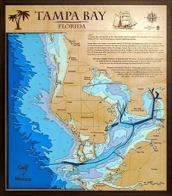 Tampa Bay Laser-Cut Nautical Map
